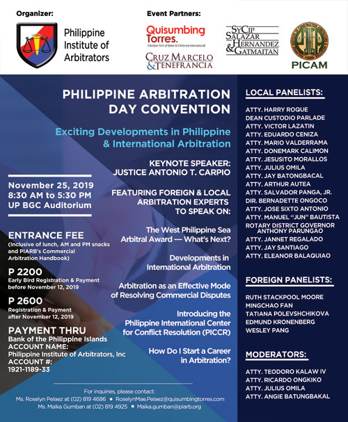 """Cruz Marcelo & Tenefrancia proudly co-sponsors the PHILIPPINE ARBITRATION DAY CONVENTION 2019, which will feature 28 local and foreign arbitration experts who will talk about the """"Exciting Developments in Philippine and International Arbitration"""". 1"""